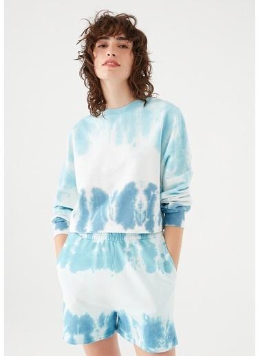 Mavi Maviterranean Nazar Boncuğu Detaylı Batik Sweatshirt Mavi